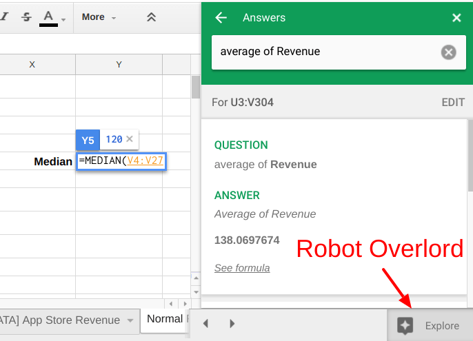 Google Sheets assistant calculating average