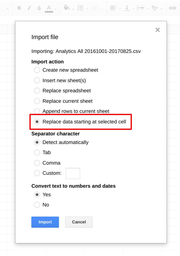Google Sheets import file menu