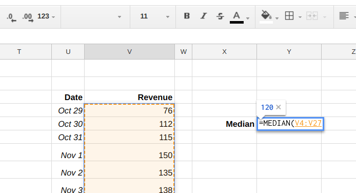 Google Sheets formula for calculating the Median