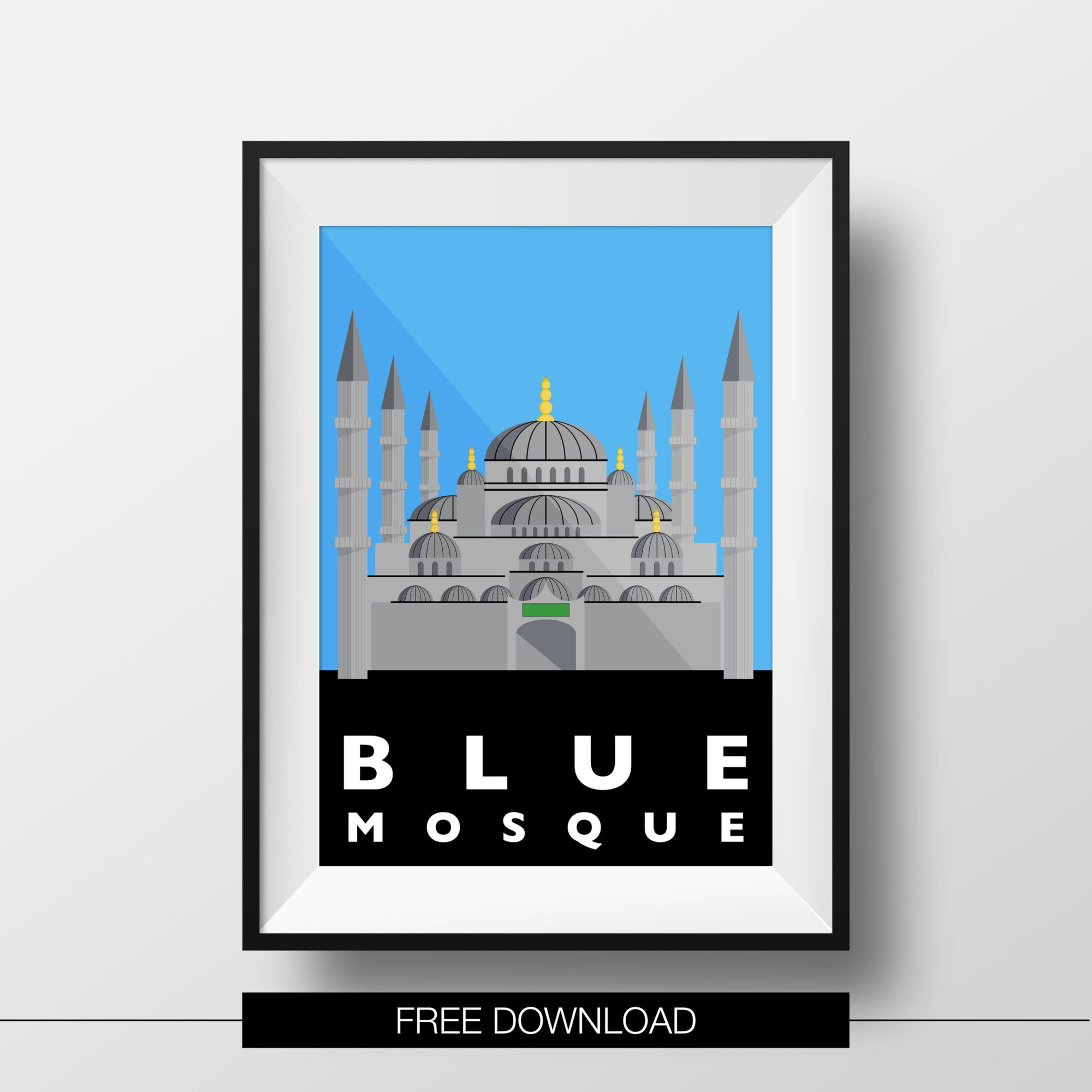 poster-istanbul-landmarks-blue-mosque-free-download