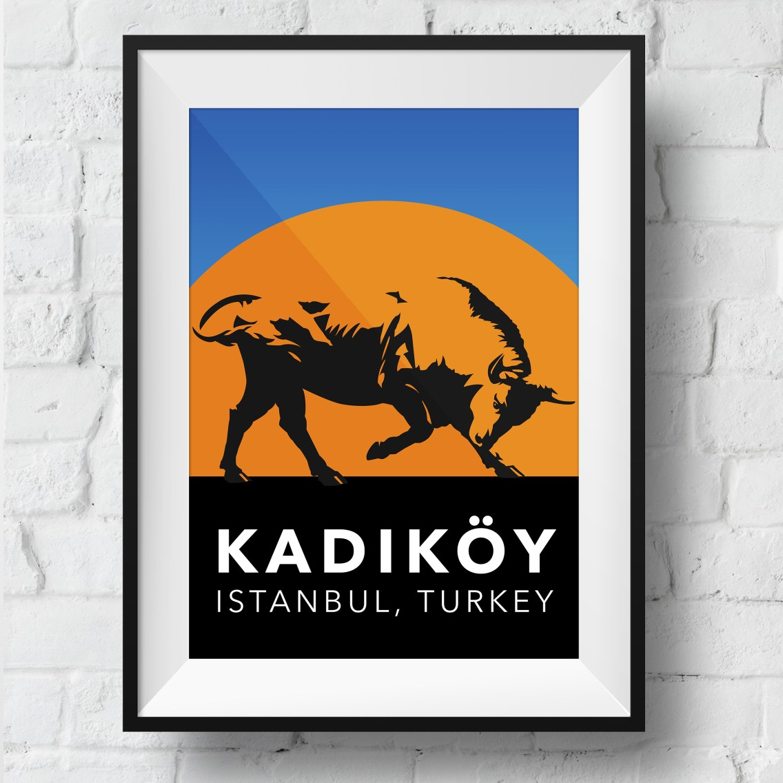 kadikoy-bull-poster-framed