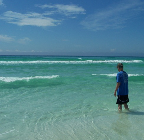 (Pop enjoying the clear-blue water and the refreshing ocean breeze – the salt-water was good for his wounds on his foot that are still recovering)