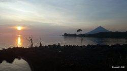 22. Ometepe Lake - Sunset with volcano
