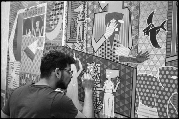 Pranav Sood, painter working in his studio, Madison, WI 2020