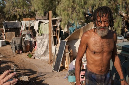Papa Cat, originally from Milwaukee, Wisconsin, runs the only cat sanctuary in the Slabs. Slab City, California 2018