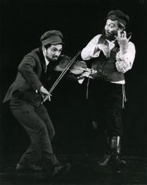 Luther Adler (Tevye) and Alfred De Sio (The Fiddler)