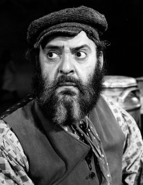 "Zero Mostel as Tevye in the 1964 production of ""Fiddler on the Roof"" (public domain photo)"