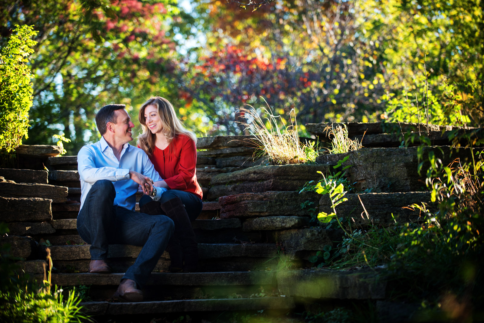 Chicago Engagement Session in the Fall with colorful leaves changing colors