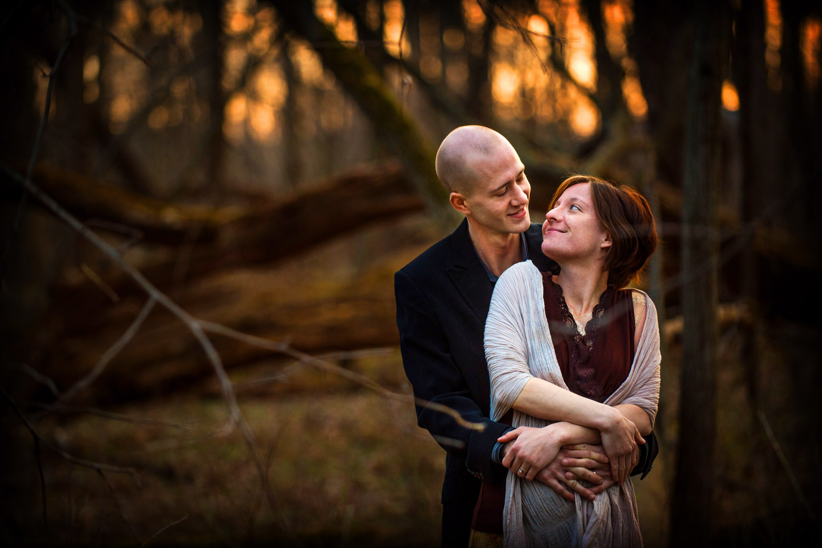 Engagement Session in Chicago suburbs at sunset in forest preserve