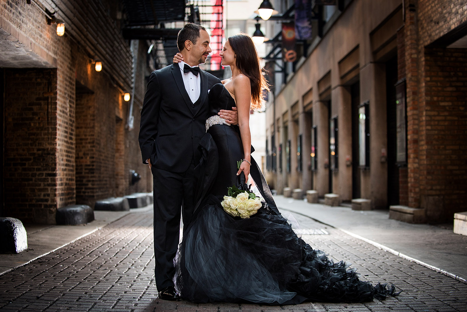 Black Wedding Gown Bride Groom