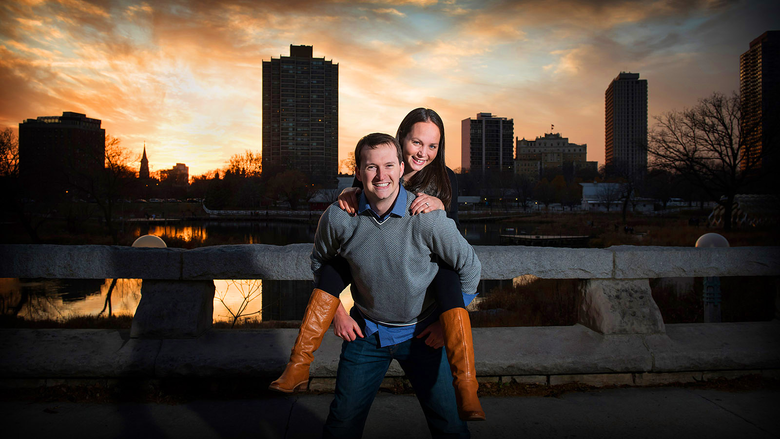 Chicago Sunset Engagement Session Photo Saturated
