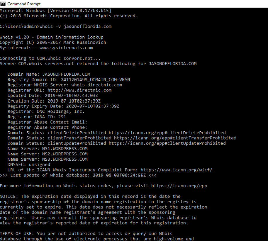 cmd prompt whois lookup