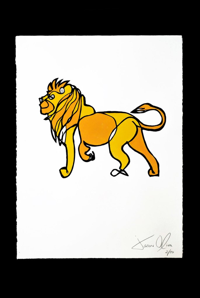 Work on Paper Lion Medium Color Jason Oliva