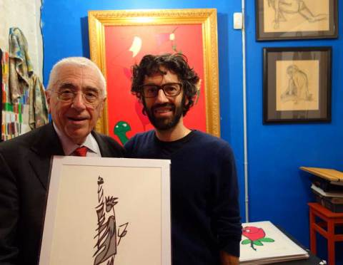 Serge Hochar and Jason Oliva with his Statue of Liberty work on paper.