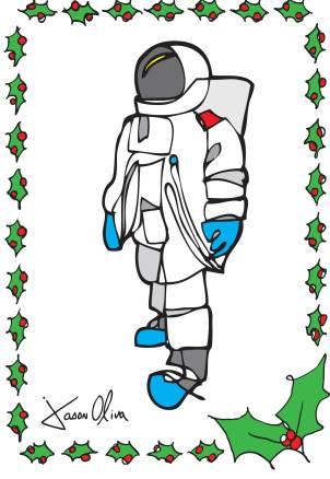 Holiday Card Astronaut Jason Oliva Christmas Card