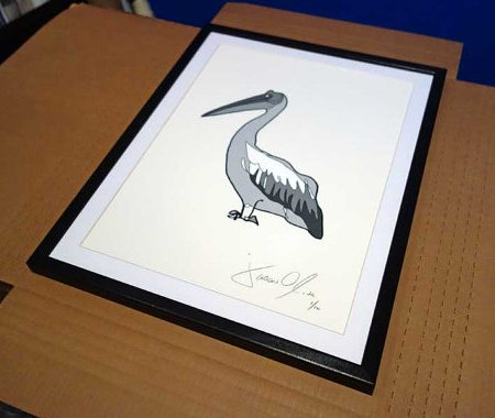Jason Oliva Grey Pelican work on paper painting