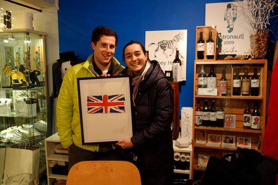 Jason Oliva Studio British Flag work on paper painting