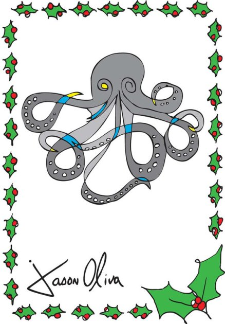 Octopus Holiday Card Jason Oliva