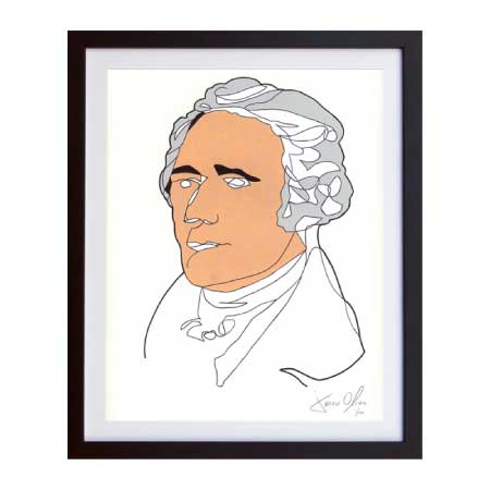 Alexander Hamilton framed work on paper by Artist Jason Oliva