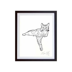 Cat-white-framed-small-work-on-paper-jason-oliva