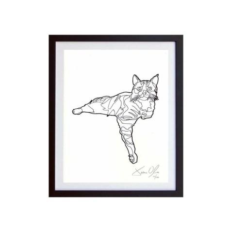 Cat-white-framed-small-work-on-paper-jason-oliva