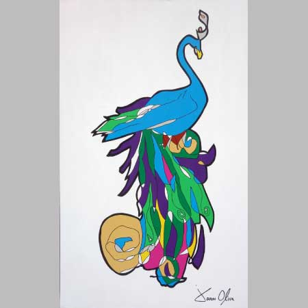 Peacock 2015 sold painting by artist Jason Oliva