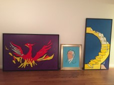 Andrew Wolff collection of Three Jason Oliva paintings: Phoenix, Hamilton and Golden Stairs