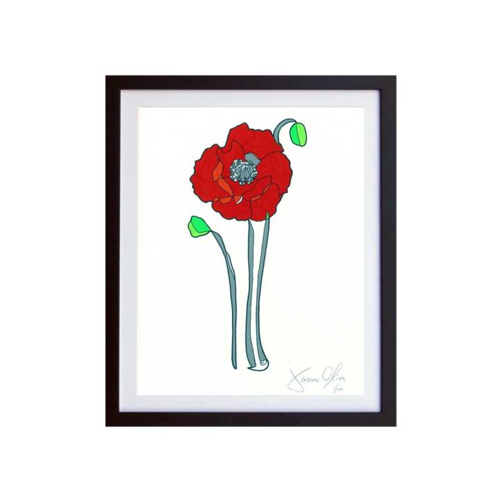 Poppy (Color) Small Hand Painted Work on Paper by Jason Oliva Edition of 100