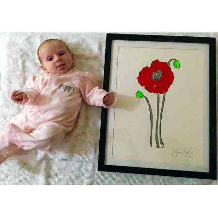 Poppy small hand painted work on paper by artist Jason Oliva
