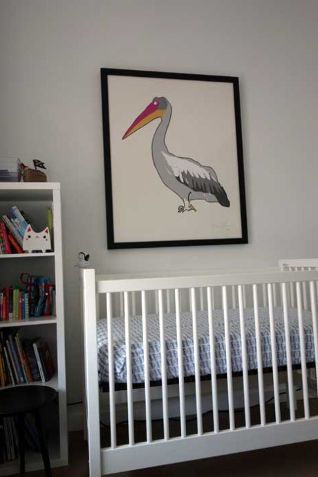 Pelican Large work on paper by Jason Oliva in a babies room