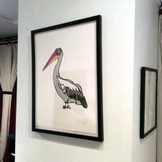 Pelican medium work on paper by Jason Oliva on display