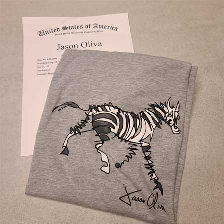 Jason Oliva Stripey Horse Zebra T shirt and trademark registration.