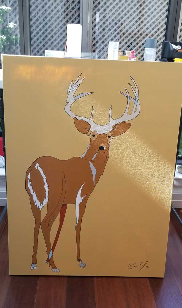Deer 2020 Jason Oliva painting canvas in the studio