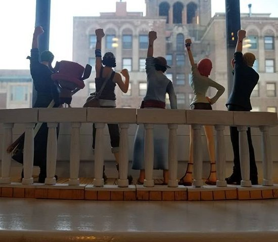 Jason Oliva One Piece crew figures on our windowsill NYC