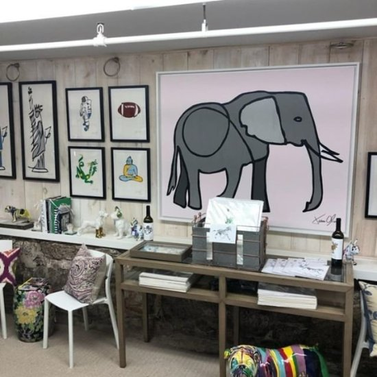 Jason Oliva Elephant painting and artwork at NOLI Design in Cold Spring Harbor Long Island