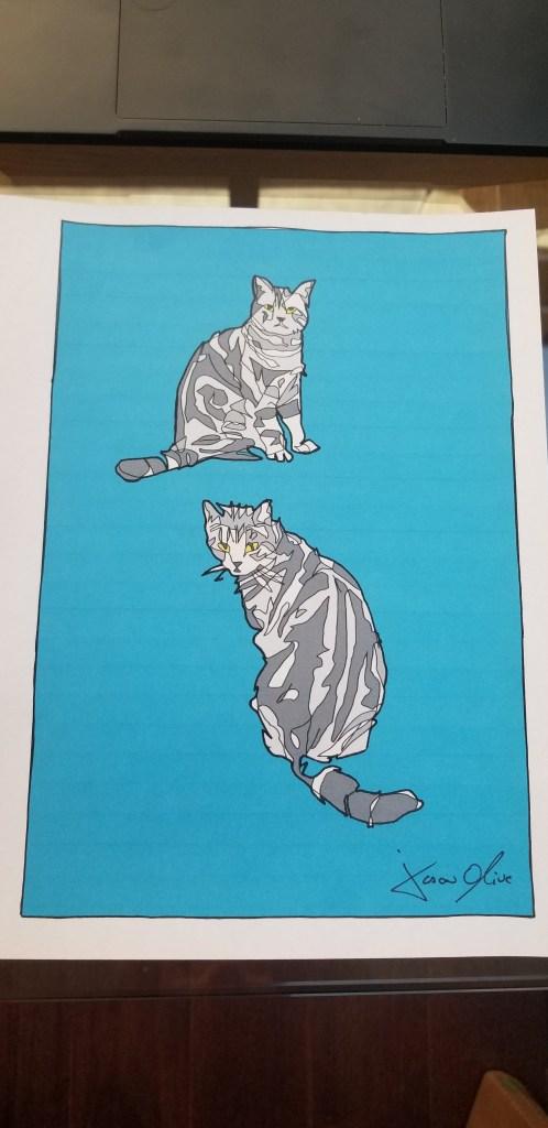 Cat portrait study Jason Oliva drawing