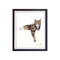 Cat-color-framed-small-work-on-paper-jason-oliva