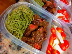 Grilled Angus Steak w/Spinach Whole Wheat Pasta & Caprese Salad