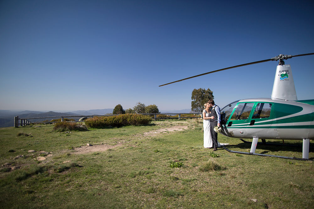 bride and groom arrive by helicopter at Craig's Hut Mt. stirling victoria