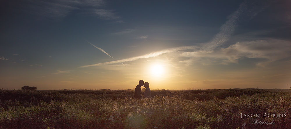 engagement photography of a couple in a lupin field at sunset