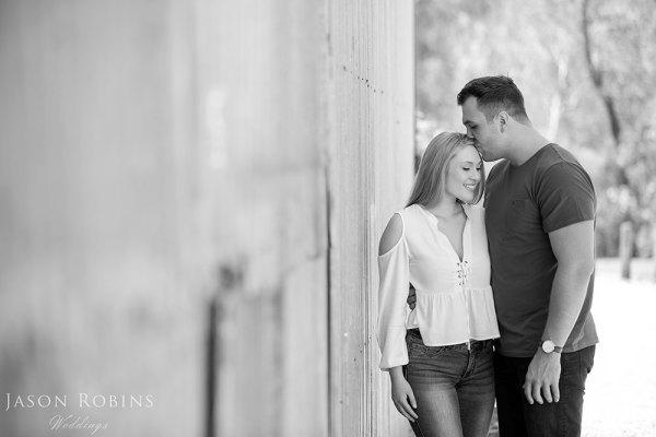 Black and white image of engaged couple near Albury Wodonga
