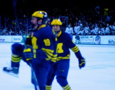Dylan Larkin celebrates after netting Michigan's third goal of the night, beating Hildebrand through his legs. Larkin's tally was his 14th of the season and gave Michigan a 3-2 lead over the Spartans