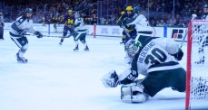 Jake Hildebrand is the Big Ten's best goalie and goals are never easy to come by against the talented netminder. After allowing two early goals, Hildebrand looked like his normal self and gave Michigan fits.