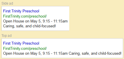 Preschool Google Search Ad