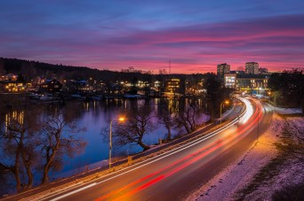 TRAFFIC AND SUNSET IN NACKA, STOCKHOLM.