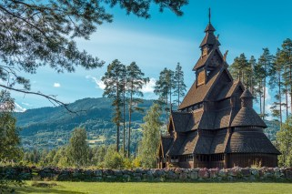 STAVE CHURCH IN NORWAY.