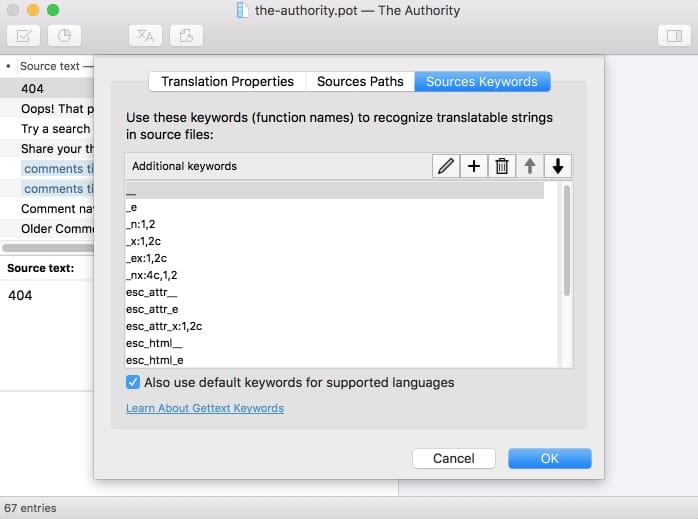 Poedit Catalog Properties for WordPress translation