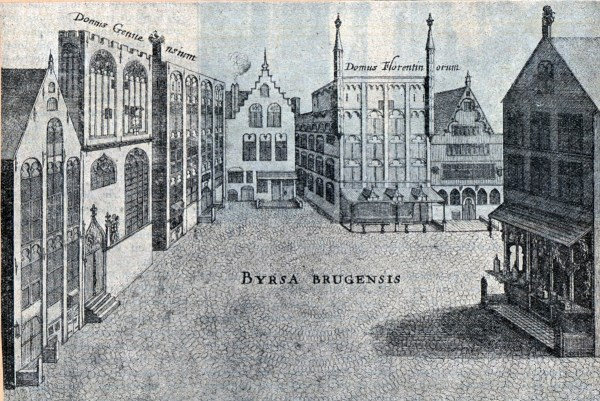 """The Bourse of Bruges, as it was in the 15th century The """"house"""" of Genoese merchants is second from left; the house of the Florentines is third from right. The old bourse, third from left, is topped by a stork's nest. The stork, known for the repetitive clattering it made by grinding its beak, may symbolize the clamor of trading. Engraving from Antonius Sanderus' """"Flandria Illustrata"""" (1641), collection of Ghent University Library, http://search.ugent.be/meercat/x/all-view?q=rug01:000984576"""