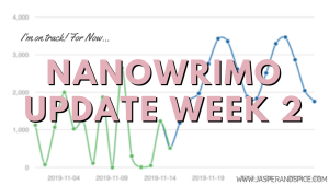NaNoWriMo Week 2 Writing Update 2019 Header - The Truth About Writing On Holidays - NaNoWriMo Week 4 Update