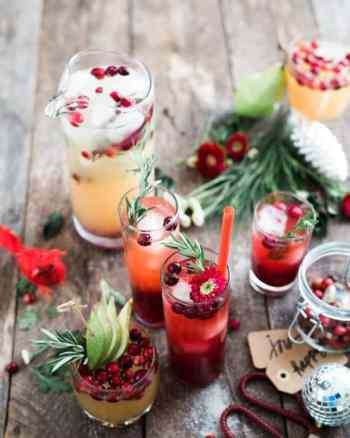 cranberry cocktails for holiday party on table